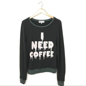 WILDFOX I Need Coffee Graphic Baggy Sweater M B6